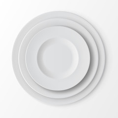 Vector Tableware Set of White Empty Plates Top View on White Background. Table Setting