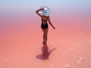 Pink salty lake in Crimea
