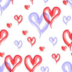 Watercolor pattern vintage background red  and blue heart.