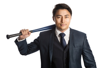 Handsome staring businessman in a suit with vest and tie, holding a baseball bat, staring at camera. White background.