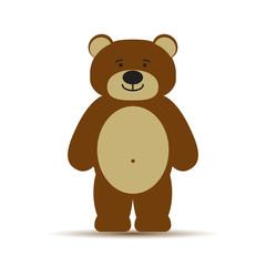 Векторная детская иллюстрация иконка простой символ плоский для веб силуэт шаблон персонаж bear медведь медвежонок тедди