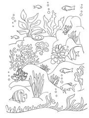 Sea coloring book page.