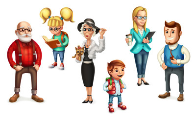 Funny people. Family. Father, mother, grandmother, grandfather, son, daughter. 3d vector icon set