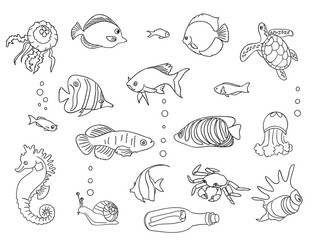 Sketch collection of marine inhabitants.