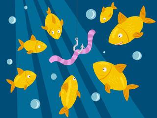 Fishing under water. Fish hunts worm vector