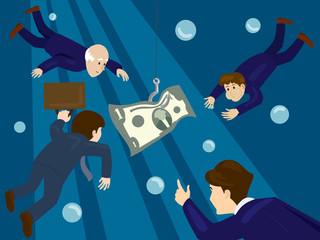 Business people hunt for money vector