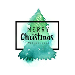 Watercolour Christmas Tree with Merry Christmas text and border. Vector illustration.