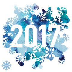 2017, Happy New Year, snowflakes bouquet, winter abstraction background, watercolor handmade painted, vector design art