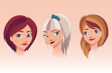 Vector illustration of girls faces with different hairstyles, hair colors.