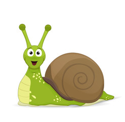cartoon green snail posing fornt face in brown shell isolated