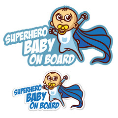 Superhero baby on Board Sticker Set