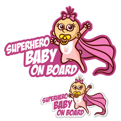 Superhero baby on Board Sticker Set