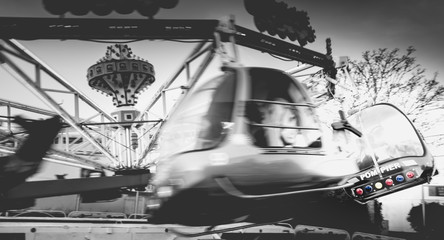 helicopter children's carousel ride for children in an amusement