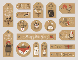 Fototapete - Christmas kraft paper cards and gift tags set, hand drawn style.