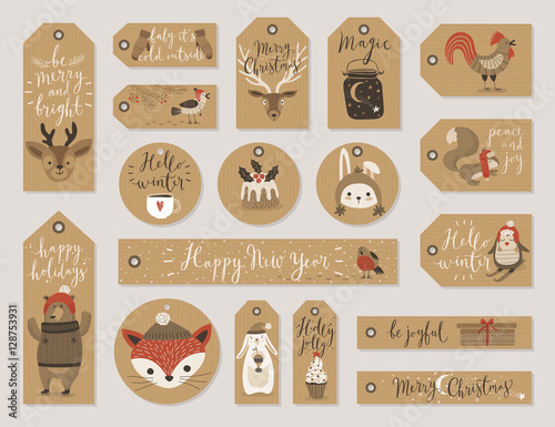 Wall mural Christmas kraft paper cards and gift tags set, hand drawn style.