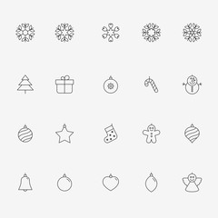 Merry Christmas icons isolated on the light background.
