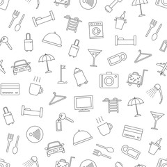 Hotel icons set pattern