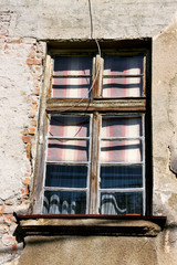 Detail of a wood window on the old house