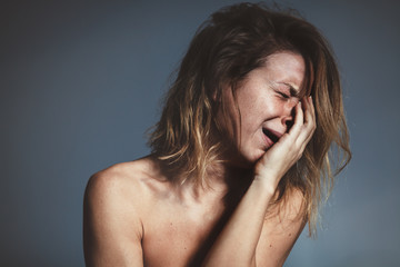 Young woman sad and crying