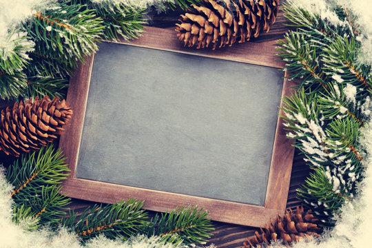 Christmas chalkboard and fir tree