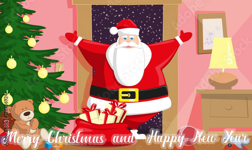 merry christmas and happy new year background cute santa claus with bag gift boxes enter