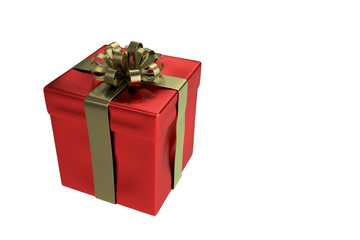 Red gift box with gold bow tied isolated, 3d rendering