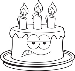 Black and white illustration of an angry birthday cake.