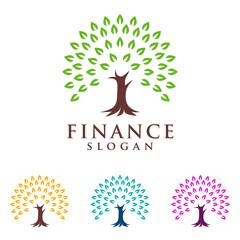 eco green , tree finance, tree logo, vector logo design