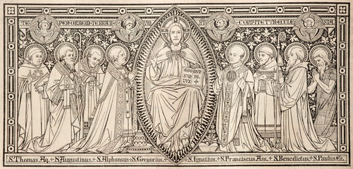 BRATISLAVA, SLOVAKIA, NOVEMBER - 21, 2016: The lithography of Jesuts among saints designed by unknown artist with initials F.M.S (end of 19. cent.) and printed in Germany by Typis Friderici Pustet.