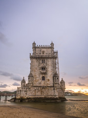 Torre de Belem on the bank of Tagus river in Lisbon, Portugal, a
