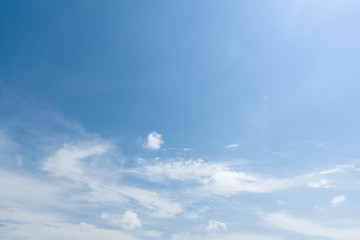 the white clouds floating on a background of blue sky