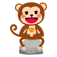 Illustration of funny monkey sitting on stone with mandarin orange tangerine fruit on his hands