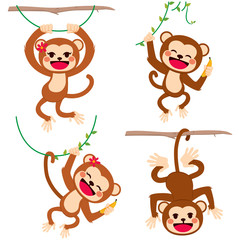 Cute funny set of monkeys playing hanging on branches and lianas