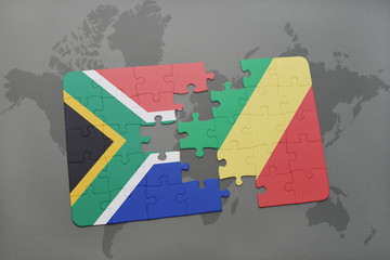puzzle with the national flag of south africa and republic of the congo on a world map.