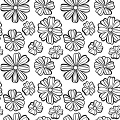 Graphic Seamless pattern with flowers on a white background