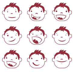 Good joyful emotions faces vector characters. Set of smiley icons.