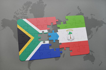 puzzle with the national flag of south africa and equatorial guinea on a world map.