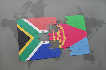 puzzle with the national flag of south africa and eritrea on a world map.