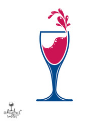 Simple vector wine goblet with splash, alcohol idea illustration