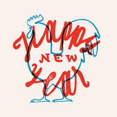 rooster new year lettering. vintage new year print. red and blue lettering.