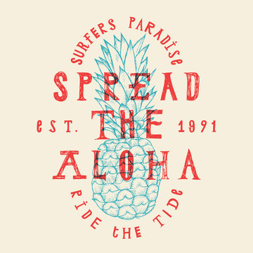 tropic paradise vacation pineapple print. hawaii surfer lettering.