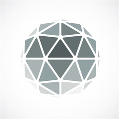 3d vector digital spherical object made using triangular facets.