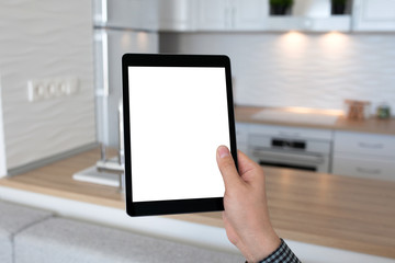 man hand holding tablet isolated screen background home room kit