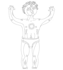 Vector black and white illustration of nude man, God of sun. Han
