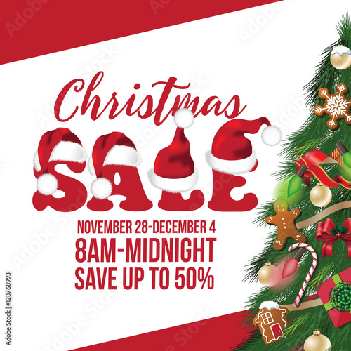 christmas sale background design with decorated christmas tree lights and sale tag copy space