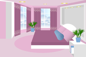 Bedroom . The interior of the room. Vector. Bed, bedside table, plant, window, curtain. Cartoon