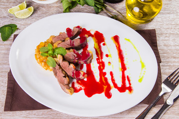 duck fillet with sauce