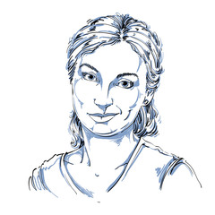 Hand-drawn vector illustration of beautiful skeptic woman, I do