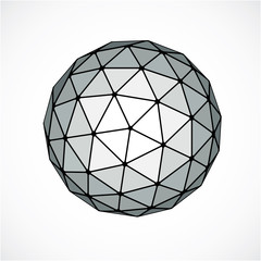 Monochrome dimensional vector low poly object, trigonometry shap