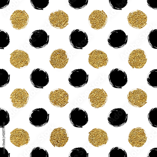Seamless pattern of gold glitter and black polka dots hand painted seamless pattern of gold glitter and black polka dots hand painted background of golden and stopboris Image collections